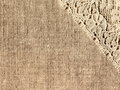 Linen with lace background close up Royalty Free Stock Photography