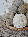 Linen threads balls in wicker Royalty Free Stock Images