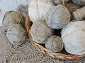 Linen threads balls in wicker Royalty Free Stock Image
