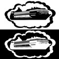 Liner icons with the image of a new cruise the illustration on a white background Royalty Free Stock Image