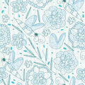 Lines Bee Flower Seamless Pattern_eps