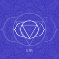 Lines geometric illustration of one of the seven chakras - Ajna on blue background, the symbol of Hinduism, Buddhism.