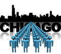 Lines of people with chicago skyline illustration Stock Photography