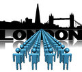 Lines of people with london skyline illustration Royalty Free Stock Image