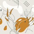 Abstract seamless pattern with branches of leaves and plants.