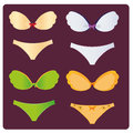 Lingerie four different combinations of bra and panties with different colors Stock Image