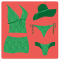 Lingerie a green set of swimsuit with green panties and a green hat Stock Images