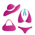 Lingerie a pink swimsuit with a hat in white background Stock Photo