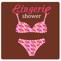 Lingerie shower a colored bra and pantie with some text above Royalty Free Stock Photo