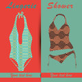 Lingerie two different swimsuits with different textures and text Stock Photography