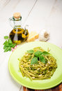 Linguine al Pesto Stock Photography