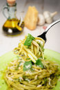 Linguine al Pesto Stock Photos