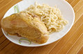 Linguine with chicken plate of Stock Images