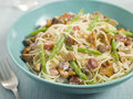 Linguine with Mushroom, Asparagus and Pancetta Stock Photos