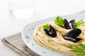 Linguine with Mussels Stock Images