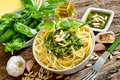 Linguine pasta by pesto Royalty Free Stock Photo