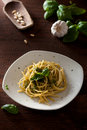 Linguine with Pesto Stock Photo