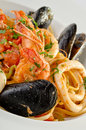 Linguine seafood on white plate Stock Photography