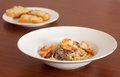 Linguine with shrimps and mushrooms Royalty Free Stock Photography