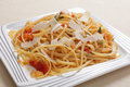 Linguine with tomato and garlic Stock Image