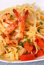 Linguini with shrimp, tomato and parsley Royalty Free Stock Photo