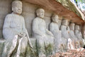 Lingyun mountain grottoes arhat statues in nanchong sichuan china Stock Photos