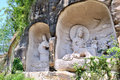 Lingyun mountain grottoes guanyin bodhisattva avalokitasvara statues in nanchong sichuan china Royalty Free Stock Images