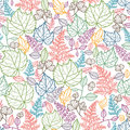 Linje art leaves seamless pattern background Royaltyfri Bild