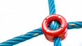 Link connecting ropes plastic ring from different directions Royalty Free Stock Image