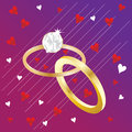 Linked wedding rings gold are featured in a romantic illustration Stock Photos
