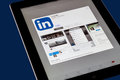 Linkedin new york city feb ipad opened to app is a professional networking site that was founded in Stock Photography