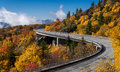 Linn cove viaduct is a concrete bridge that connects the blue ridge parkway around the slopes of grandfather mountain in north Royalty Free Stock Photos