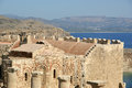 Linods acropolis on rhodos ancient archeological site greece Stock Photos