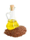 Linseed oil in a glass jug Royalty Free Stock Image