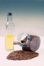 Linseed oil a healthy diet Stock Photo