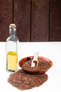 Linseed oil a healthy diet Stock Images