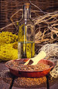 Linseed oil a healthy diet Stock Photos