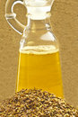 Linseed oil and linseed Stock Images
