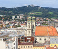 Linz cityscape austria with old cathedral and poestlingberg Stock Photo