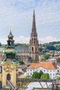 Linz cityscape with new cathedral austria upper Stock Photo