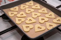 Linz hearts preparation cookies ready for baking in the oven Royalty Free Stock Images