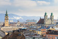 Linz view on old city austria with churches Stock Photo