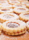 Linzer cookies closeup of traditional on wooden board Royalty Free Stock Photo