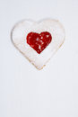 Linzer homemade cookie with heart shape raspberry jam window Royalty Free Stock Image