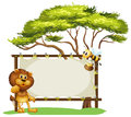 A lion and a bee near a big tree illustration of on white background Stock Photos