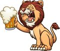 Happy cartoon lion holding up a beer