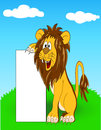 Lion with blank sign Royalty Free Stock Photo