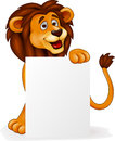 Lion with blank sign Royalty Free Stock Image