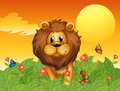 A lion and the butterflies illustration of Royalty Free Stock Image