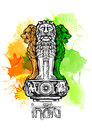 Lion capital of Ashoka in Indian flag color. Emblem of India. Watercolor texture backdrop Royalty Free Stock Photo